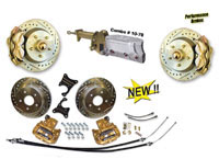 "53-62 CorvetteFront and Rear Disc Brake Conversion 13"" Rotors & 4-piston calipers Electric Power Master Cylinder"